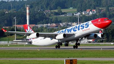 A picture of HBJMF - Airbus A340313 - Edelweiss Air - © Cesar Prieto
