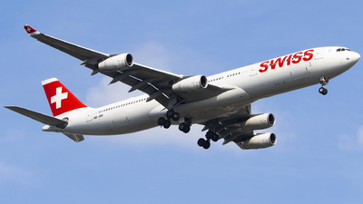 A picture of HBJMI - Airbus A340313 - Swiss - © KnightHammer Aviation