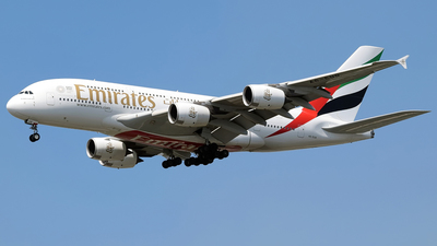 A picture of A6EUQ - Airbus A380842 - Emirates - © Omid83