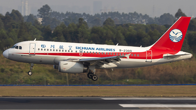 A picture of B2300 - Airbus A319133 - Sichuan Airlines - © XieTM