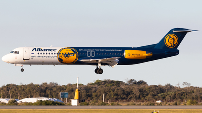 A picture of VHFGB - Fokker 100 - Alliance Airlines - © Brodie Lawson