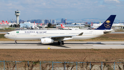 A picture of HZAQ28 - Airbus A330343 - Saudia - © Marin Ghe.