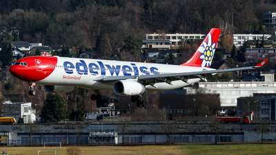 A picture of HBJHQ - Airbus A330343 - Edelweiss Air - © Lorenzo Varin - AirTeamImages