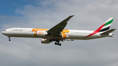 A picture of A6EQO - Boeing 777300(ER) - Emirates - © David W. Wilson
