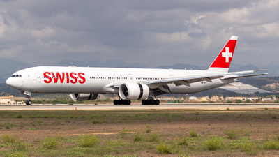 A picture of HBJNK - Boeing 777300(ER) - Swiss - © Ismael Lopez - PMI Plane Spotting