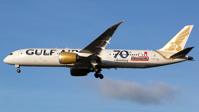 A picture of A9CFE - Boeing 7879 Dreamliner - Gulf Air - © Chris Pitchacaren