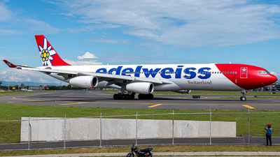 A picture of HBJMD - Airbus A340313 - Edelweiss Air - © Osvaldo Arce