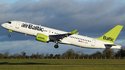 A picture of YLAAQ - Airbus A220300 - Air Baltic - © John Fitzpatrick