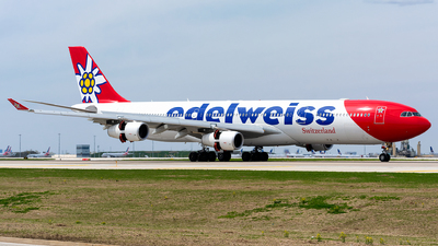 A picture of HBJME - Airbus A340313 - Edelweiss Air - © Kevin Cargo