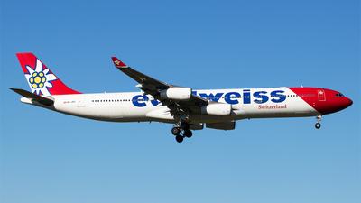 A picture of HBJMF - Airbus A340313 - Edelweiss Air - © Melanie Niedermeier