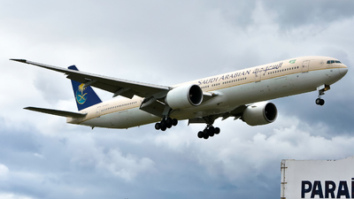 A picture of HZAK14 - Boeing 777368(ER) - Saudia - © Patrick