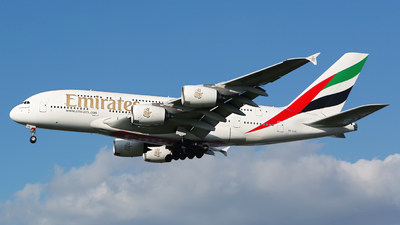 A picture of A6EUB - Airbus A380861 - Emirates - © Chris Pitchacaren