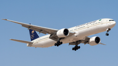 A picture of HZAK22 - Boeing 777368(ER) - Saudia - © AirlinerSpotter
