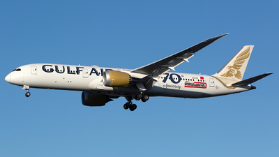 A picture of A9CFD - Boeing 7879 Dreamliner - Gulf Air - © Chris Pitchacaren