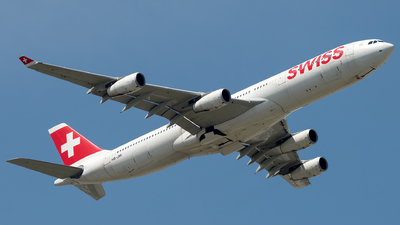 A picture of HBJMI - Airbus A340313 - Swiss - © Piotr Persona
