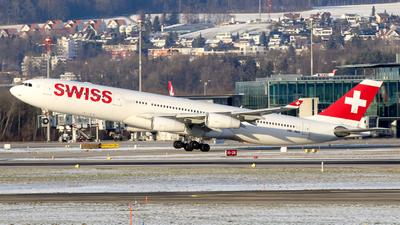 A picture of HBJMB - Airbus A340313 - Swiss - © Francesco Cavallin