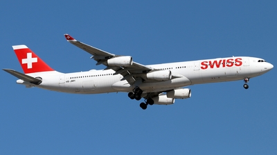A picture of HBJMH - Airbus A340313 - Swiss - © Timothy Brandt