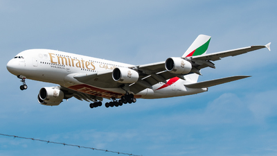 A picture of A6EUF - Airbus A380861 - Emirates - © DrowsySpotting