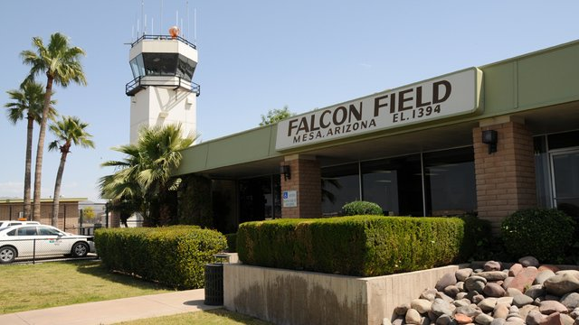 A view from Mesa Falcon Field Airport