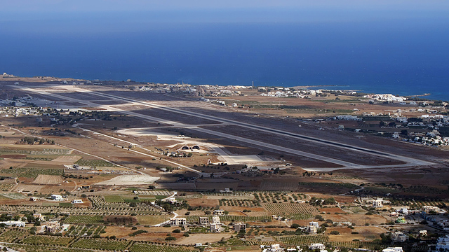 A view from Santorini Thira National Airport