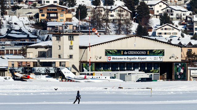 A view from St. Moritz Samedan Airport