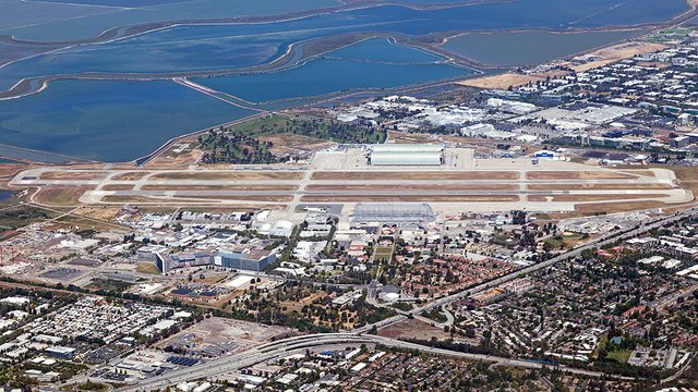 A view from Mountain View Moffett Federal Airfield