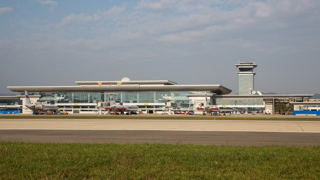 A view from Pyongyang Sunan International Airport