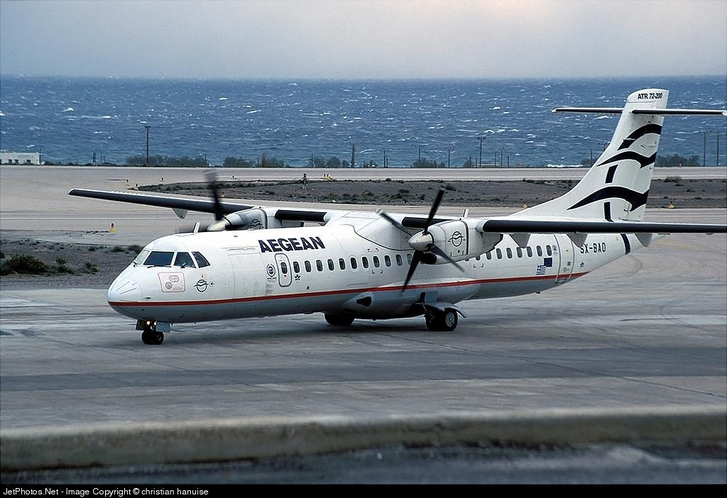 An Aegean Airlines propeller airplane flying from Athens to Mykonos - How long is the flight from New York to Mykonos