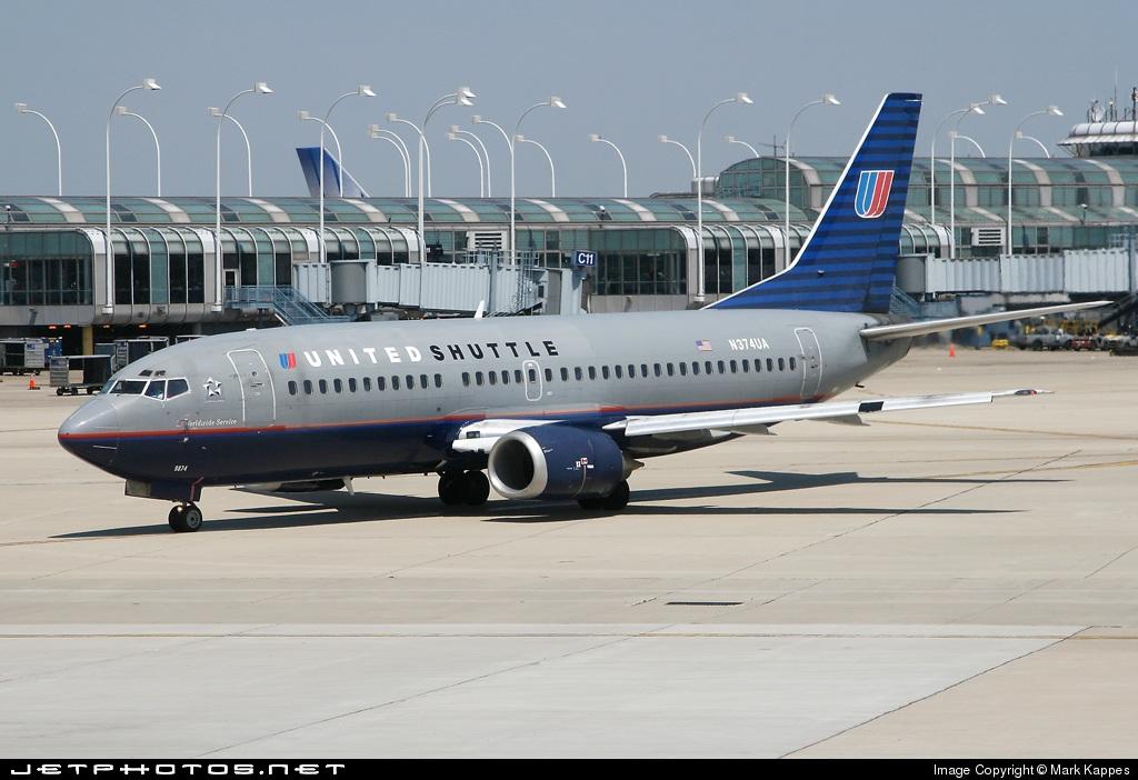 N374UA - Boeing 737-322 - United Shuttle