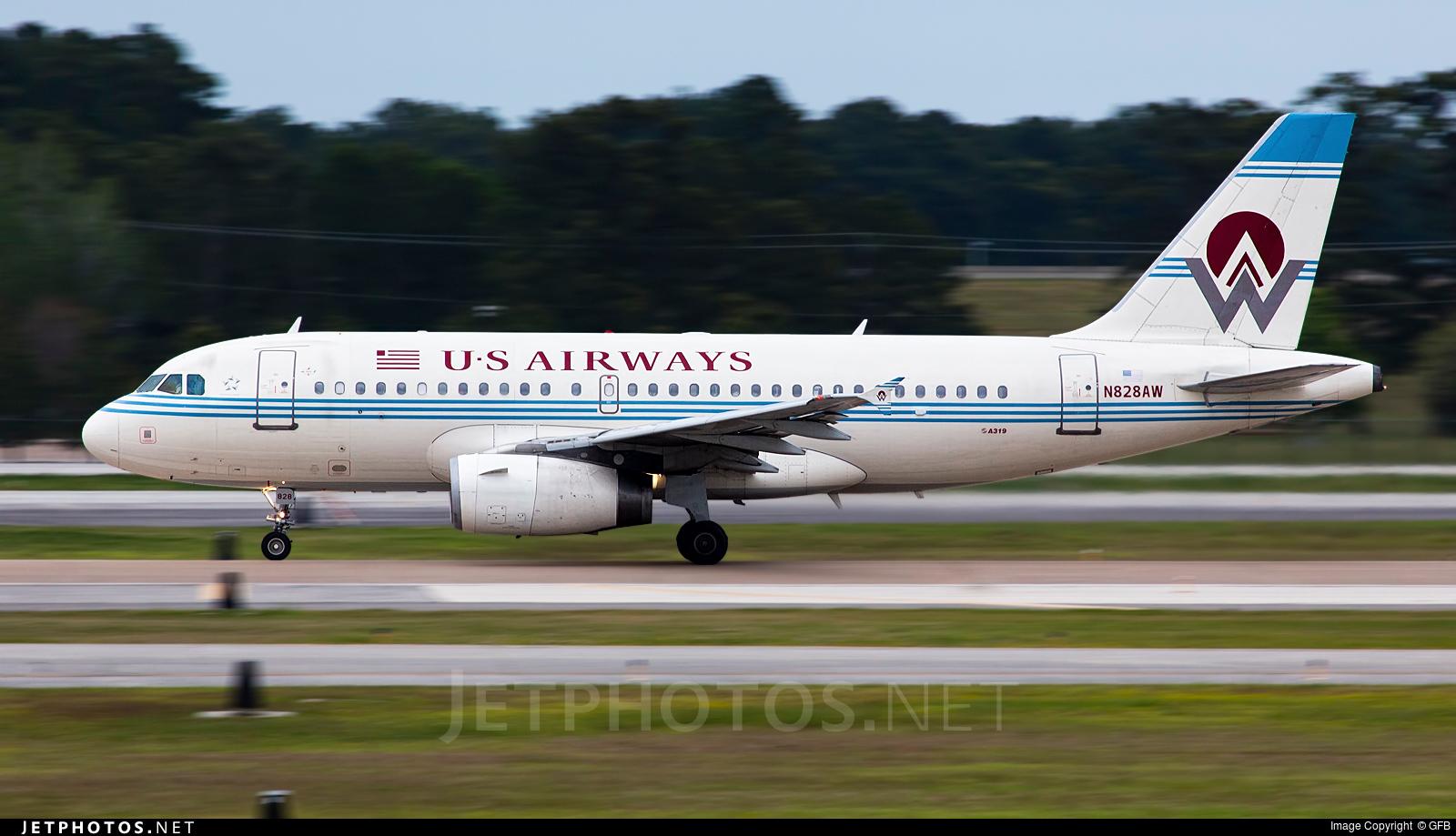 N828AW - Airbus A319-132 - US Airways