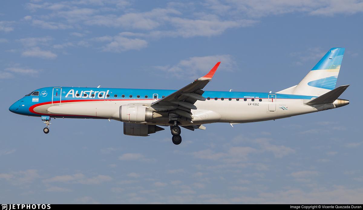 LV-CDZ - Embraer 190-100IGW - Austral Líneas Aéreas