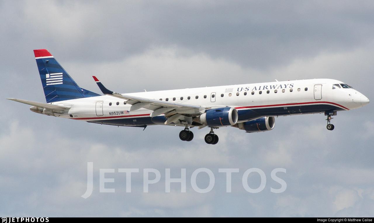 N952UW - Embraer 190-100IGW - US Airways