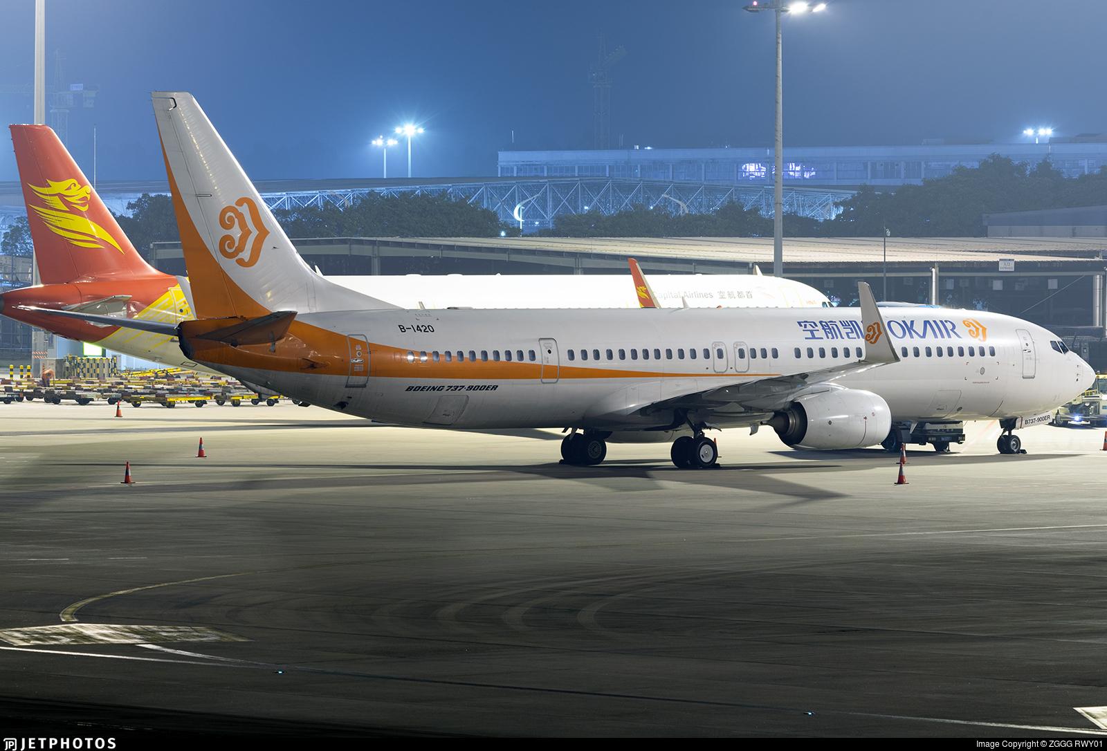 B-1420 | Boeing 737-9KFER | OK Air | ZGGG RWY01 | JetPhotos