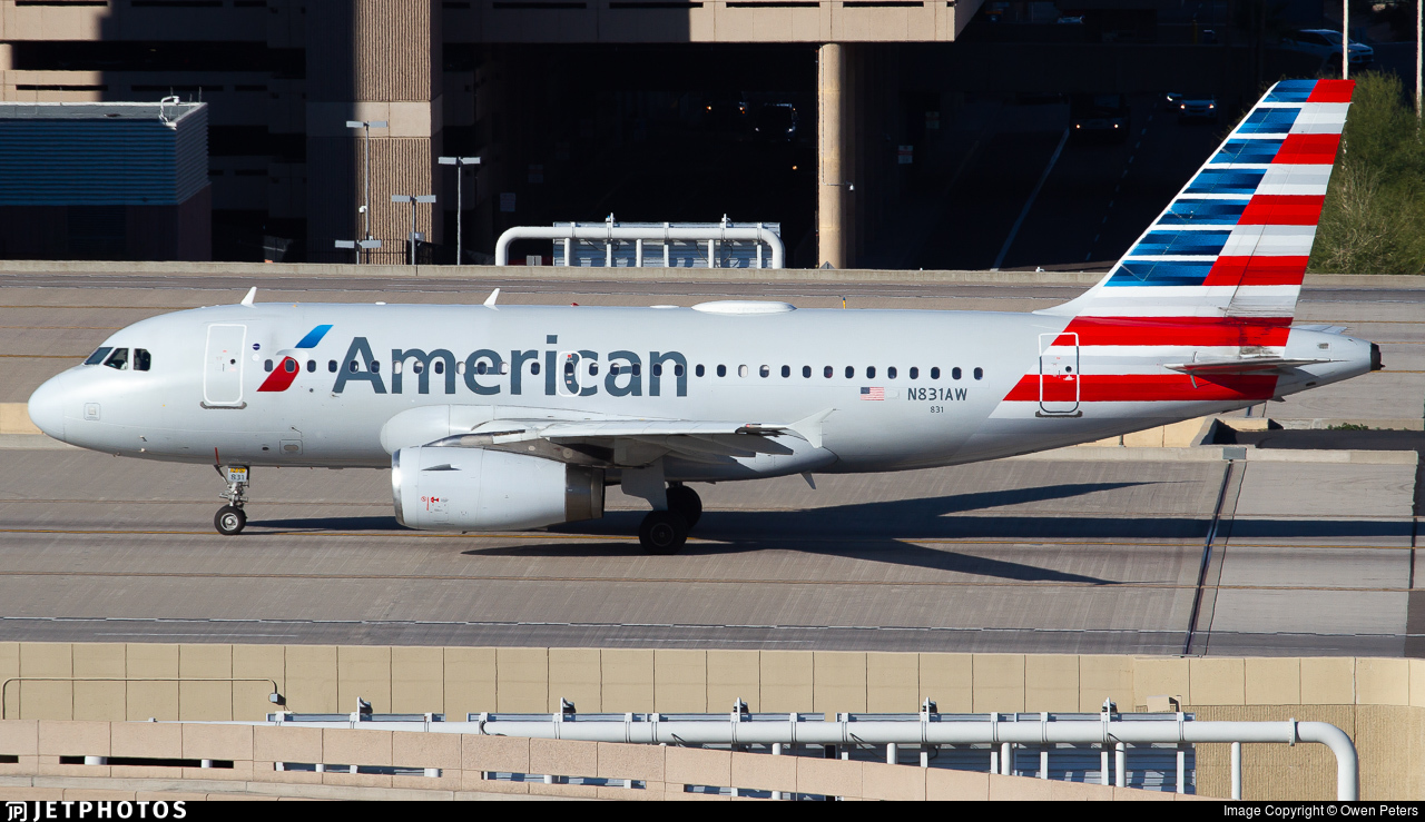 N831aw Airbus A319 132 American Airlines Owen Peters