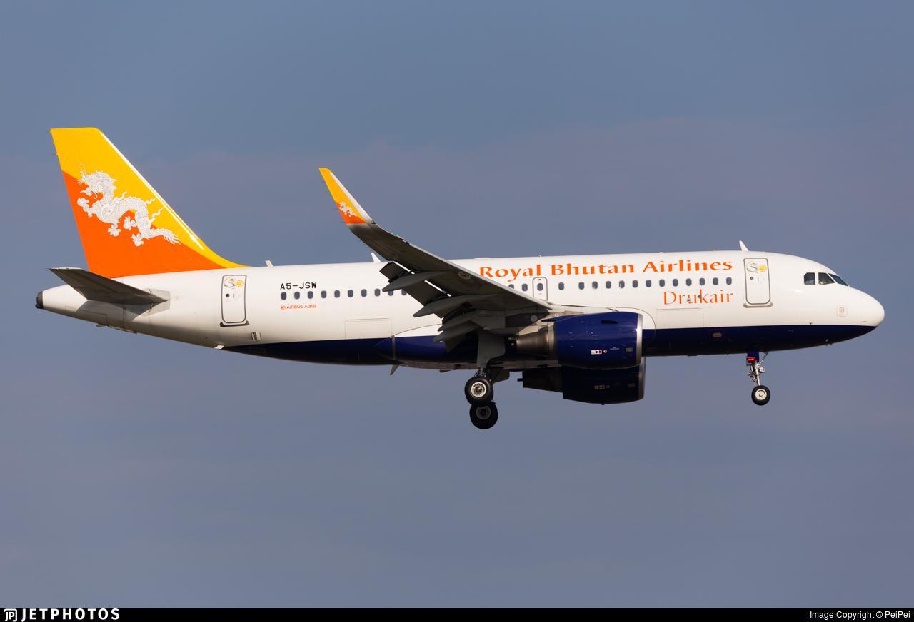 A5-JSW - Airbus A319-115 - Druk Air - Royal Bhutan Airlines