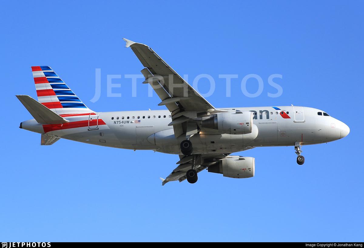 N754uw Airbus A319 112 American Airlines Jonathan