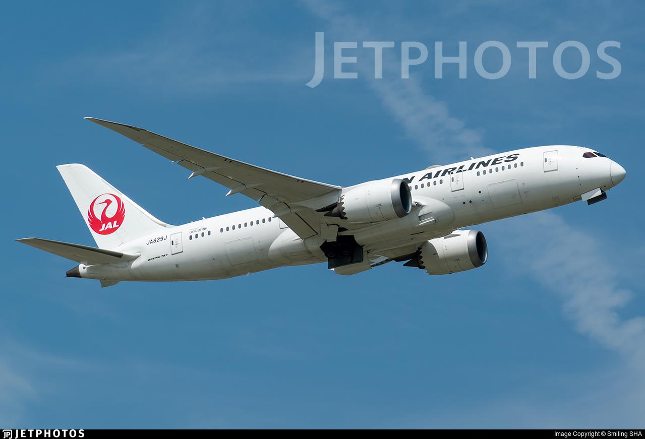 JA829J - Boeing 787-8 Dreamliner - Japan Airlines (JAL)