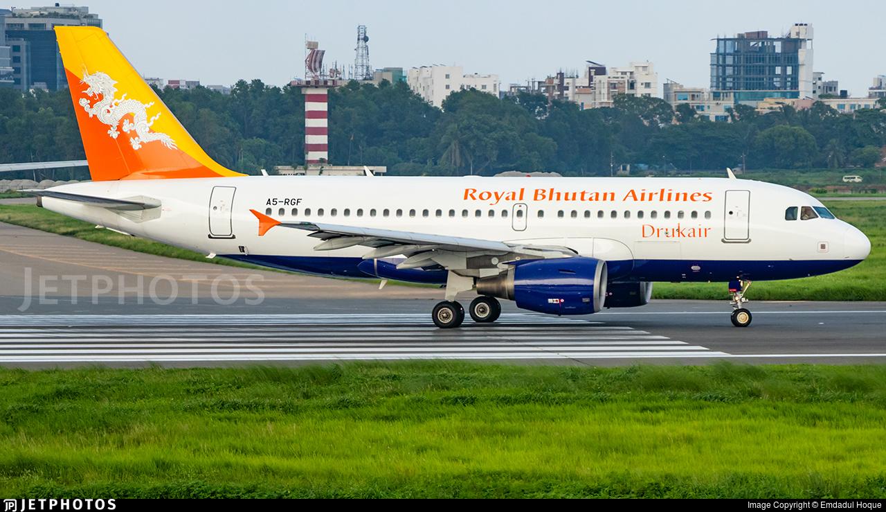 A5-RGF - Airbus A319-115 - Druk Air - Royal Bhutan Airlines