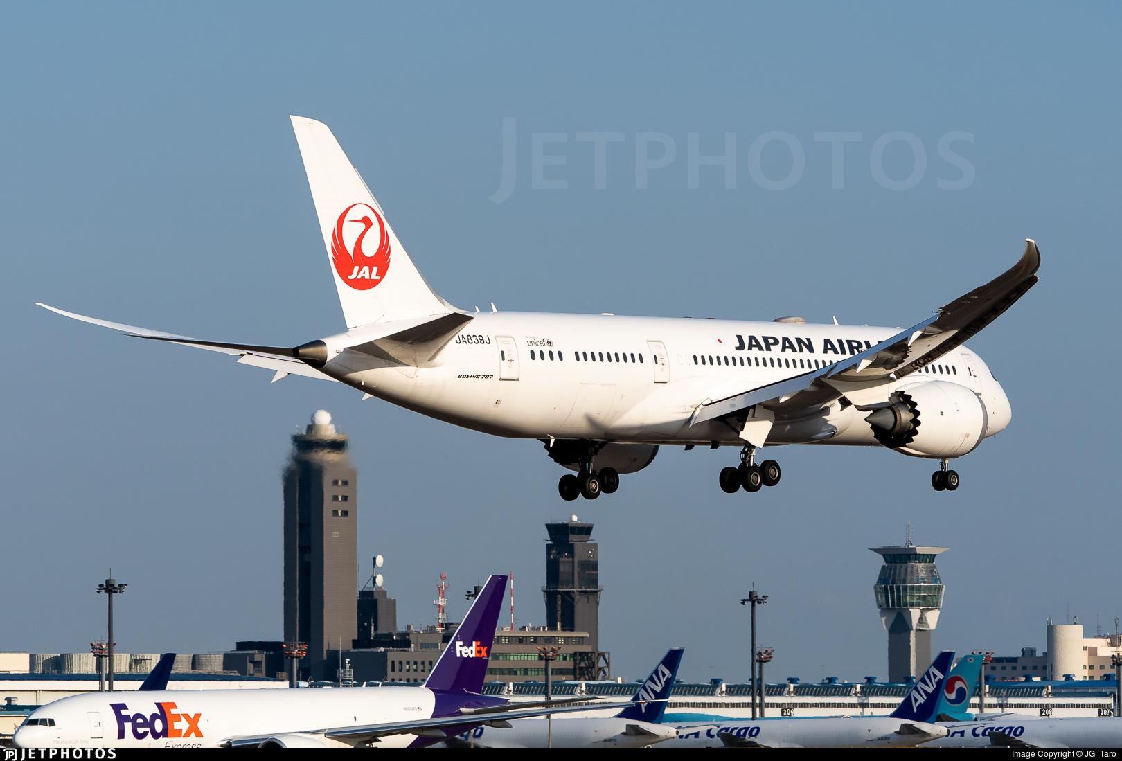 JA839J - Boeing 787-8 Dreamliner - Japan Airlines (JAL)