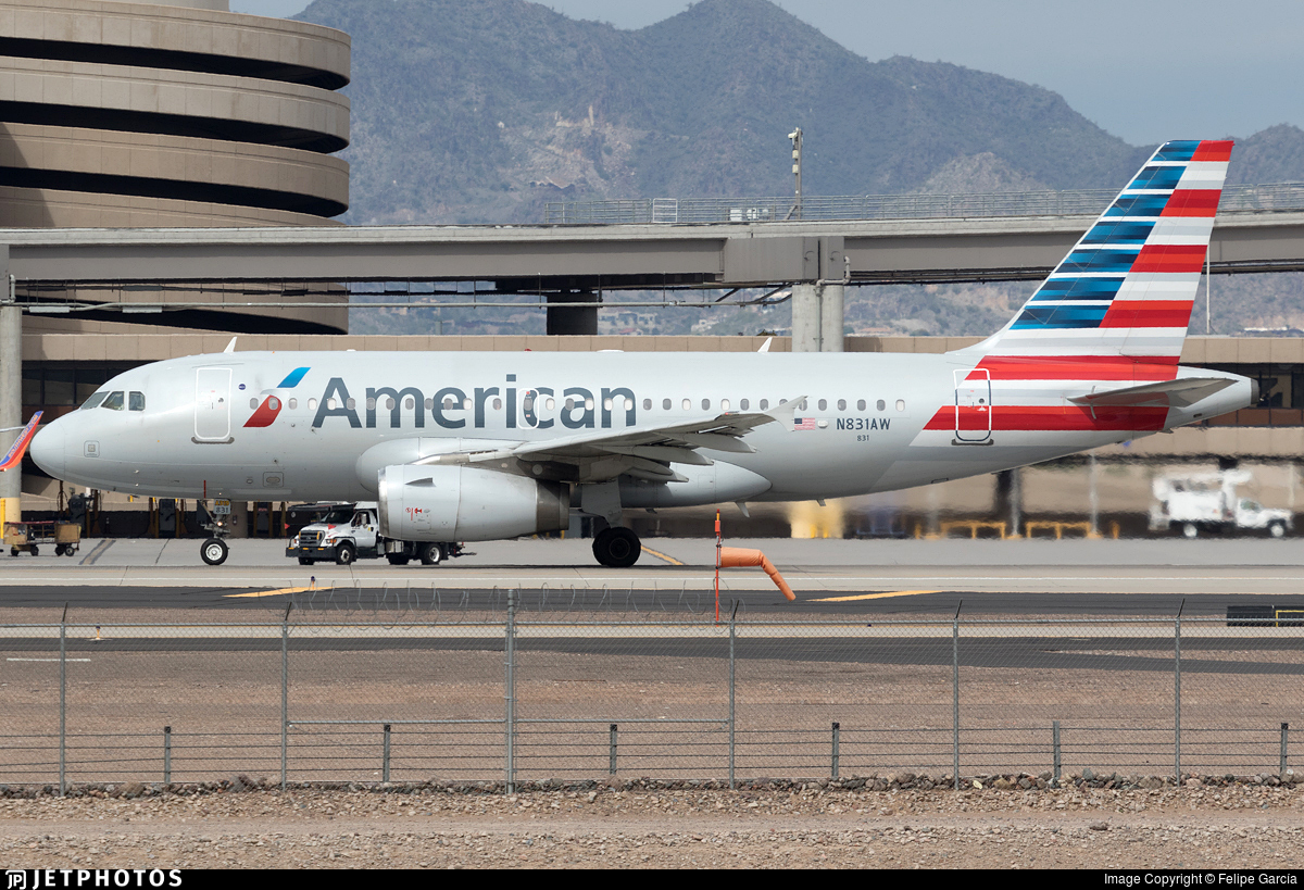 N831aw Airbus A319 132 American Airlines Felipe