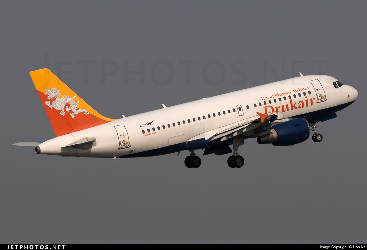 A5 Rgf Airbus A319 115 Druk Air Royal Bhutan Airlines Hon