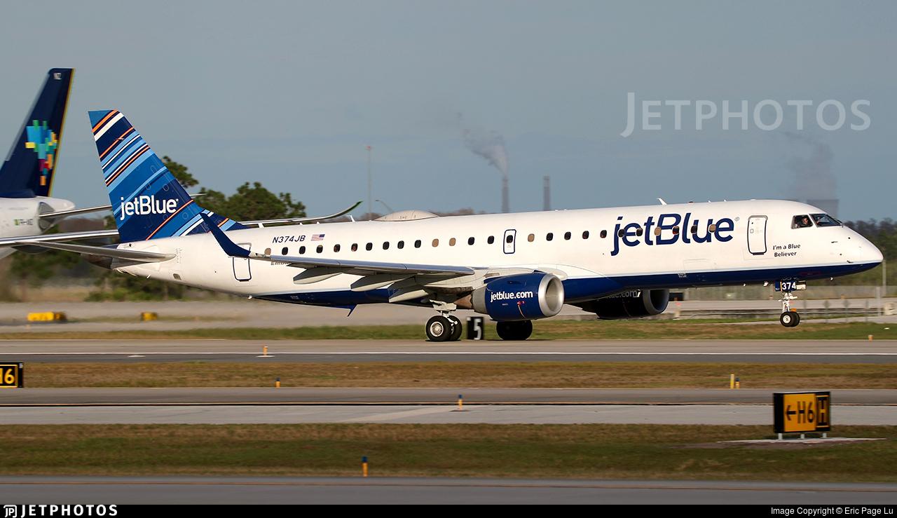 N374JB - Embraer 190-100IGW - jetBlue Airways