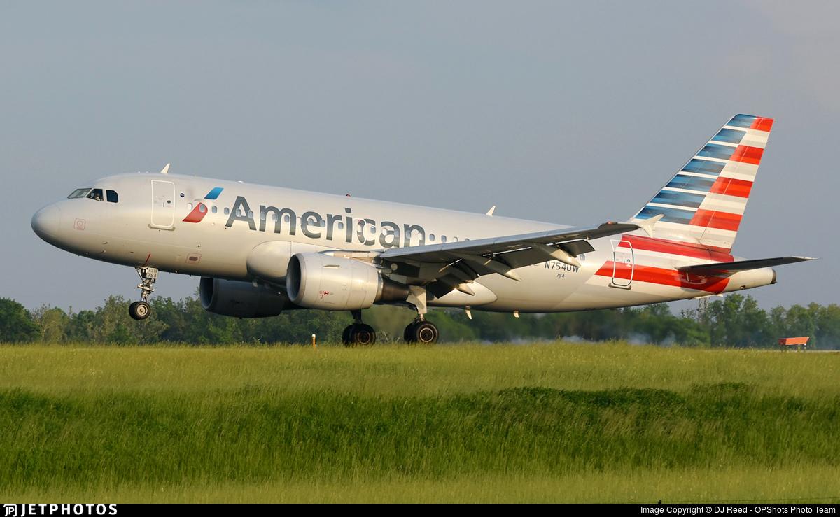 N754uw Airbus A319 112 American Airlines Dj Reed