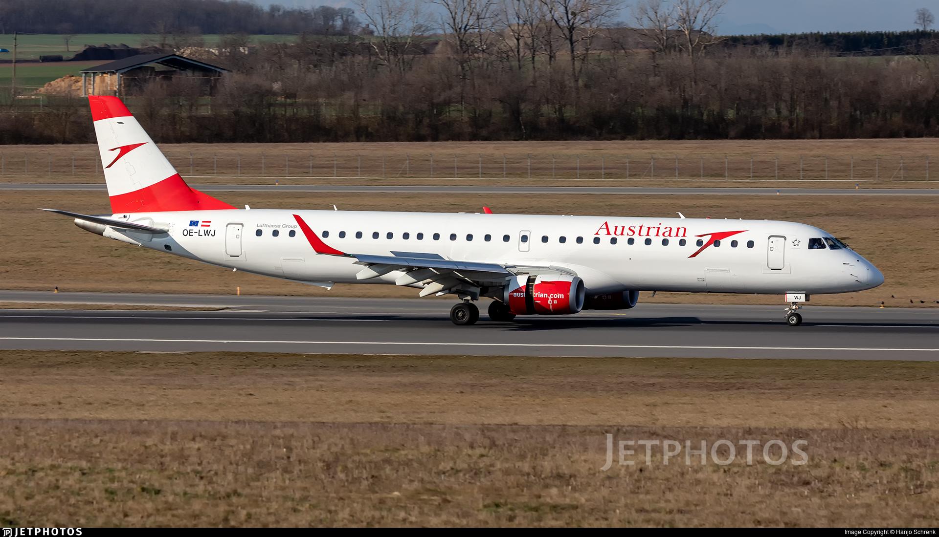 OE-LWJ - Embraer 190-200LR - Austrian Airlines