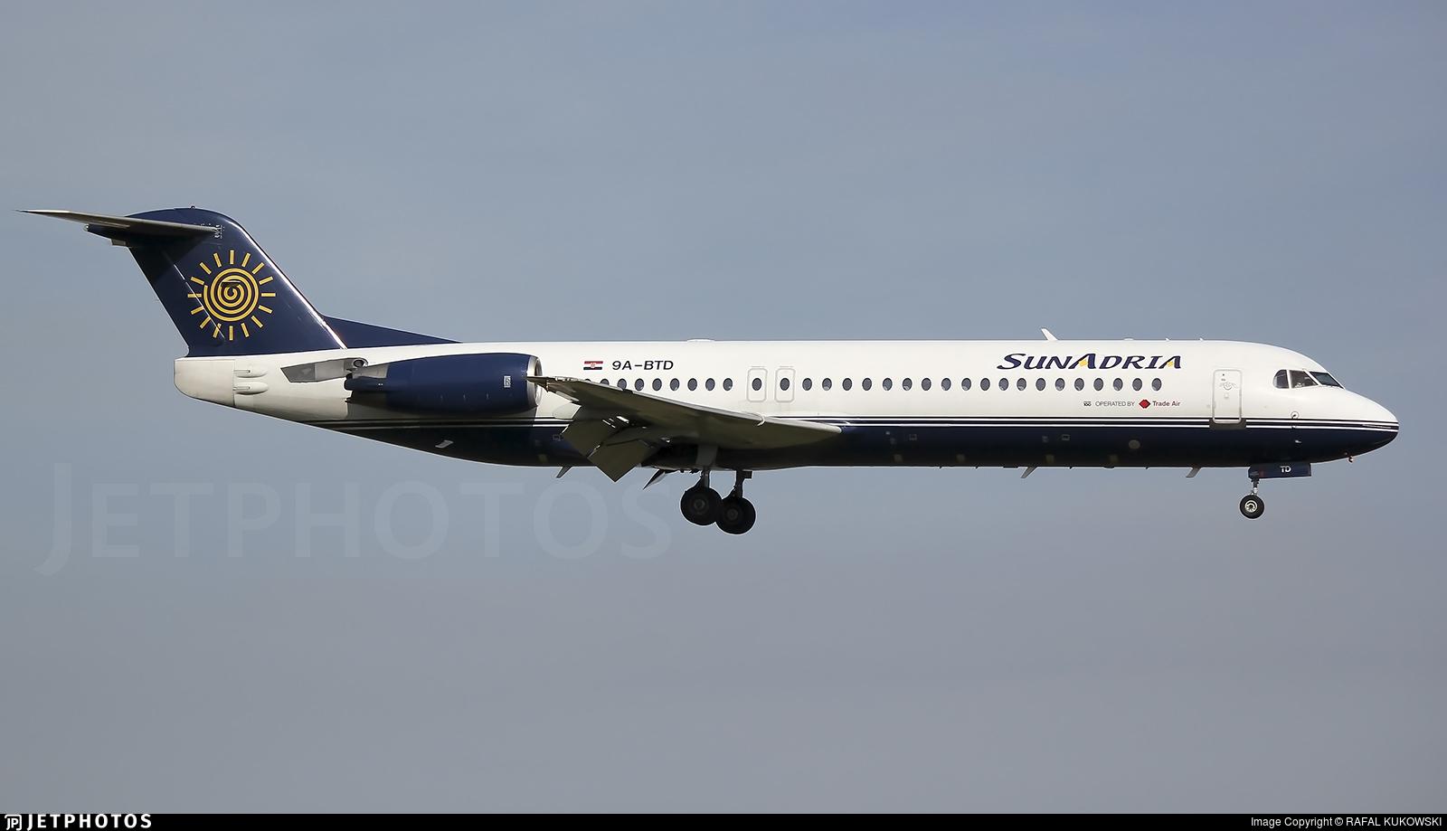 9A-BTD - Fokker 100 - SunAdria