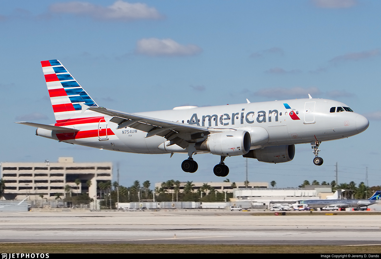 N754uw Airbus A319 112 American Airlines Jeremy D