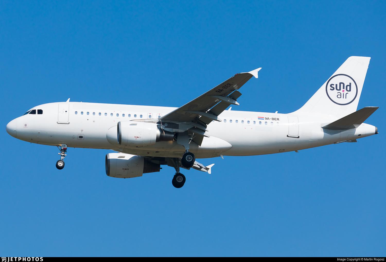 9A-BER - Airbus A319-112 - SundAir (Fly Air41 Airways)