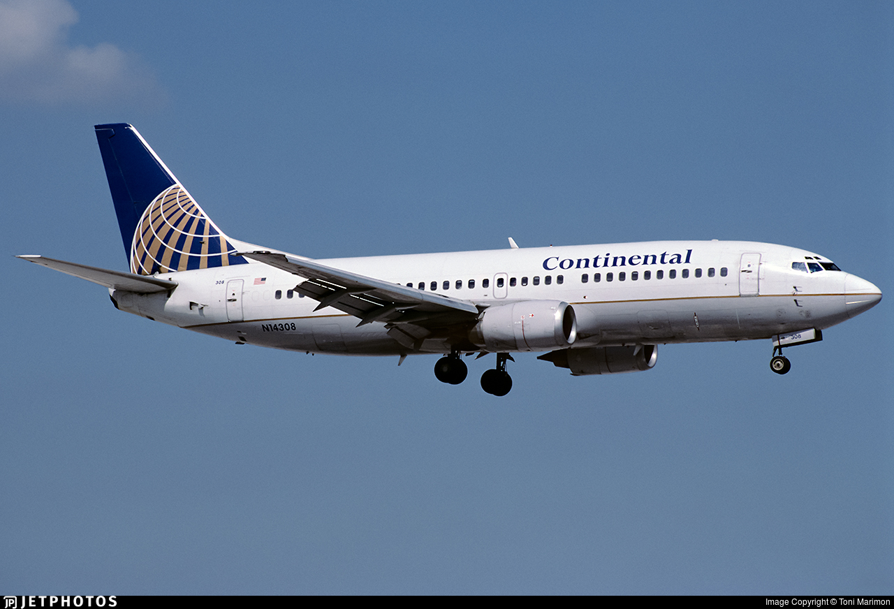 N14308 - Boeing 737-3T0 - Continental Airlines